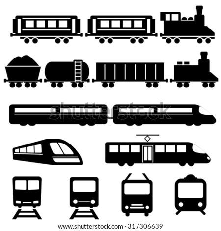 Train, subway and railway transportation icon set - stock vector