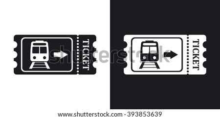 Train ticket icon, stock vector. Two-tone version on black and white background - stock vector