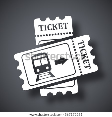 Train tickets icon, stock vector - stock vector