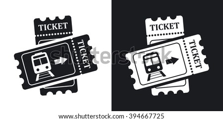 Train tickets icon, stock vector. Two-tone version on black and white background - stock vector