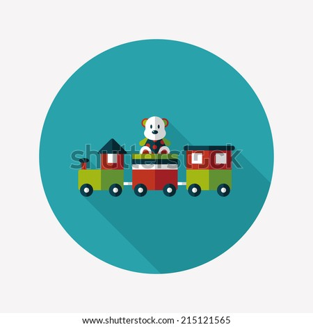 Train toy flat icon with long shadow,EPS 10 - stock vector