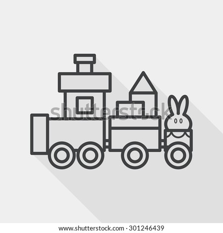 Train toy flat icon with long shadow, eps10, line icon