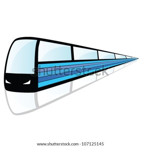 train with blue line illustration - stock vector