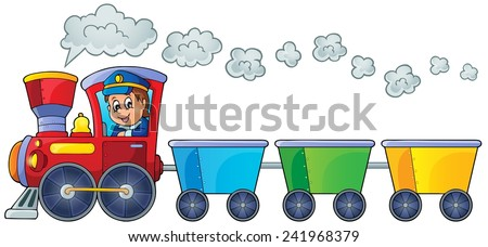 Train with three empty wagons - eps10 vector illustration. - stock vector
