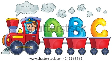 Train with three letters - eps10 vector illustration. - stock vector