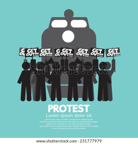 Train Workers Strike And Protest Symbol Vector Illustration - stock vector