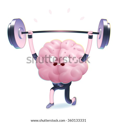 Train your brain series - the vector illustration of training brain activity, weightlifting. Part of a Brain collection. - stock vector