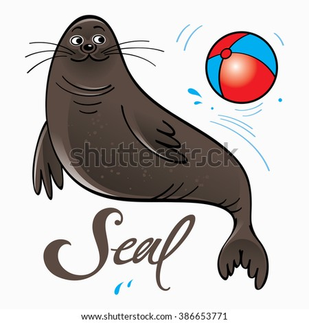 Trained seal playing with ball on stage - stock vector