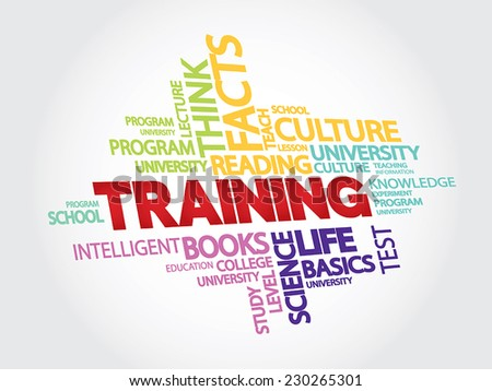 Training and education related words vector concept in tag cloud - stock vector