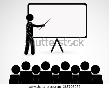 Training and presentation, seminar, learning symbol. The teacher icon. Vector illustration - stock vector