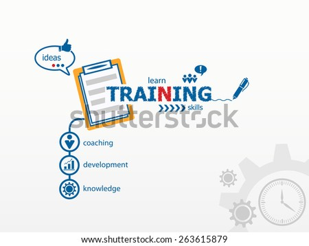 Training concept and notebook. Hand writing Training with blue marker - stock vector