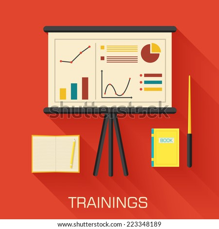 training concept design. Analytics business desk infographic with book and notepad. Vector illustration background - stock vector