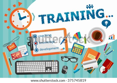 Training design concept. Typographic poster. Training concepts for web banner and printed materials.