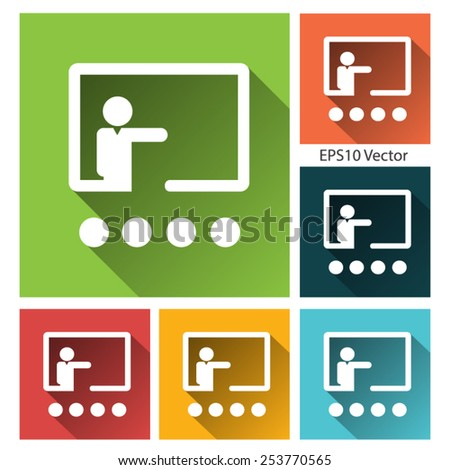 Training icon - long shadow flat training icon set. EPS 10 vector. - stock vector