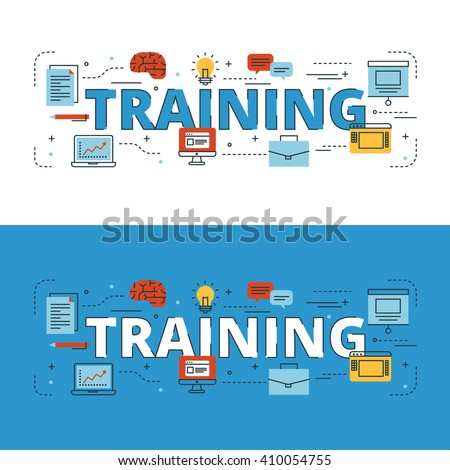 Training lettering flat line design with icons and elements for book cover, report header, presentation,illustration, infographics, printing, website banner and landing page.