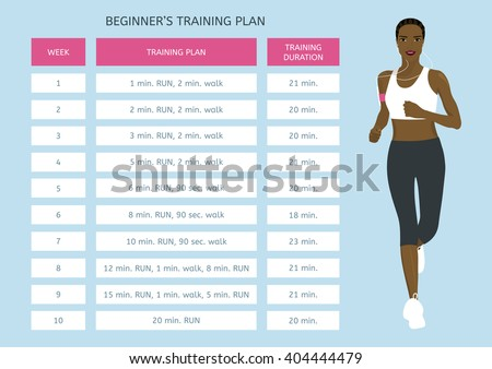 Training program for beginners. Jogging plan. Young African woman running - stock vector