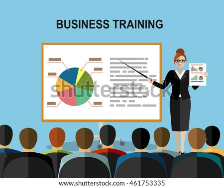 Training staff, business presentation, meeting, financial report, business school. Flat illustration. Modern flat design for websites, web banner, infographics, printed materials. Vector illustration