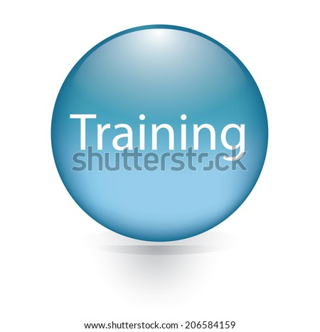 Training word blue button - stock vector