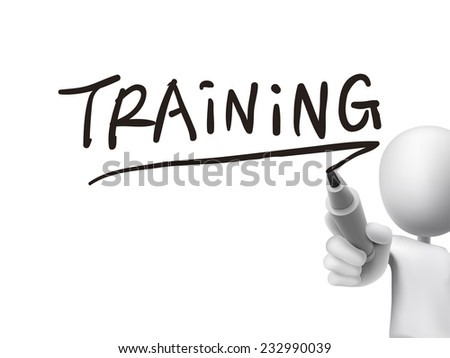training word written by 3d man over transparent board - stock vector
