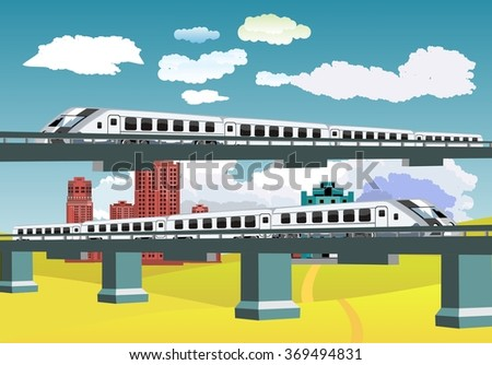 Trains on bridges, vector landscape, buildings on background, countryside. Clouds on sky - stock vector