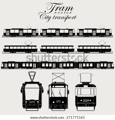 Tram icon set, urban transport,  silhouette - vector illustration - stock vector