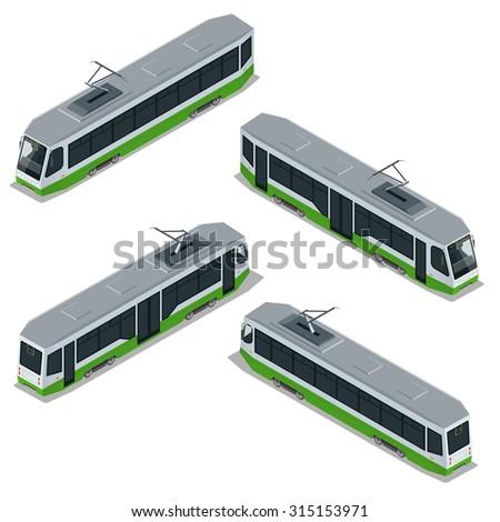 Tram Icon, Tram Modern, Tram transport, Tram Vector, Tram isometric, Tram 3d, Tram city transport, Tram isolated, Tram illustration, Tram Flat, Tram icon,Tram icon art, Tram icon best, Tram icon sign - stock vector