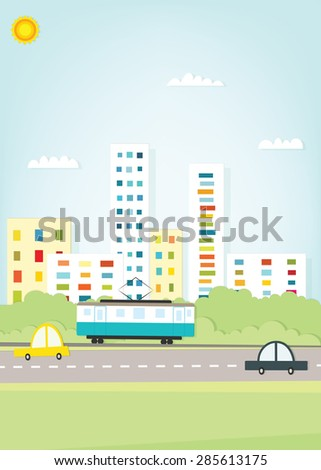 Tram in the city - stock vector