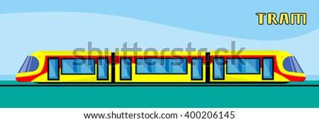 Tram Modern City Public Transport Flat Vector Illustration - stock vector