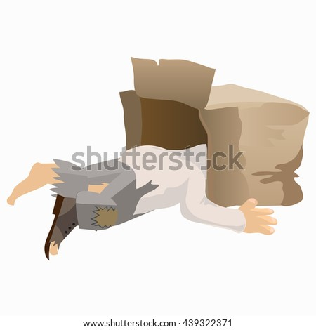 Tramp asleep with his head in a box. Vector. - stock vector