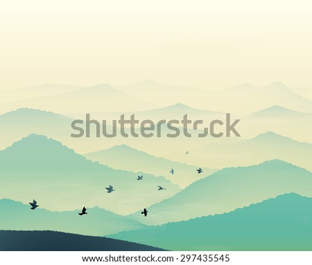 Tranquil hills, vista landscape with flock of flying bird, early morning in mountains, vector, foggy empty landscape - stock vector
