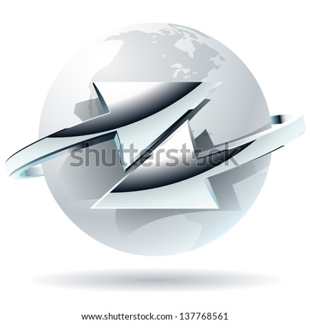 Transfer  abstract vector symbol with arrows. Arrow moves around of white globe - stock vector