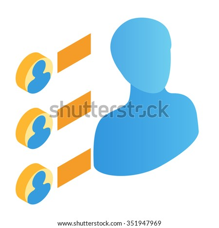 Transfer of persons isometric 3d icon isolated on white background - stock vector