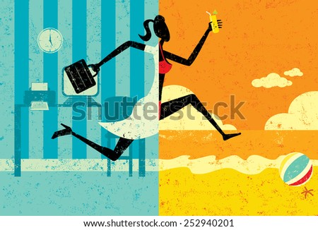 Transition to Vacation A businesswoman with a briefcase making a split image transition to wearing a bikini on a beach vacation. The woman, office, and beach are on separate labeled layers. - stock vector