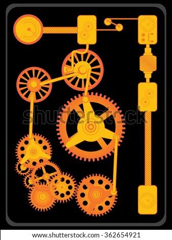 Transmission gears orange flat design. - stock vector