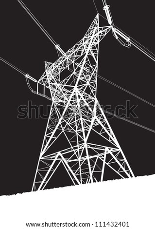 Transmission line on the black background - stock vector