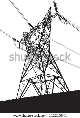 Transmission line on the white background - stock vector