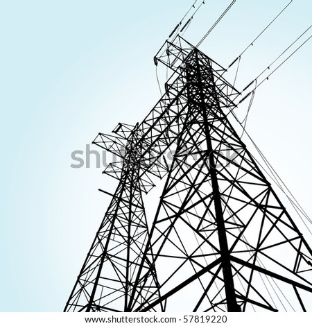 transmission tower - stock vector