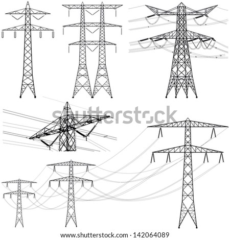 Transmission tower collection - vector silhouette illustration - stock vector