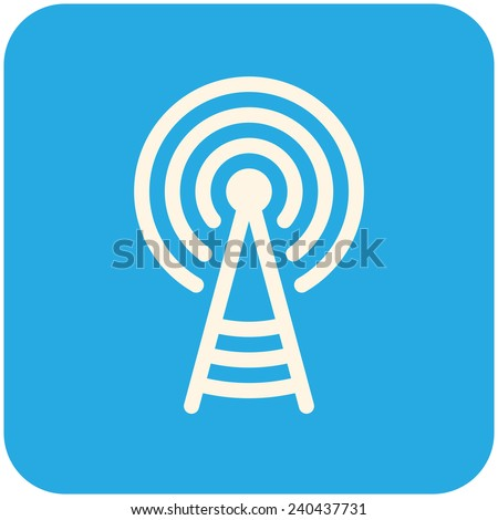 Transmitter tower, vector icon flat design - stock vector