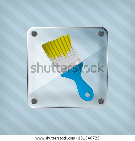 transparency icon with brush on a striped background - stock vector