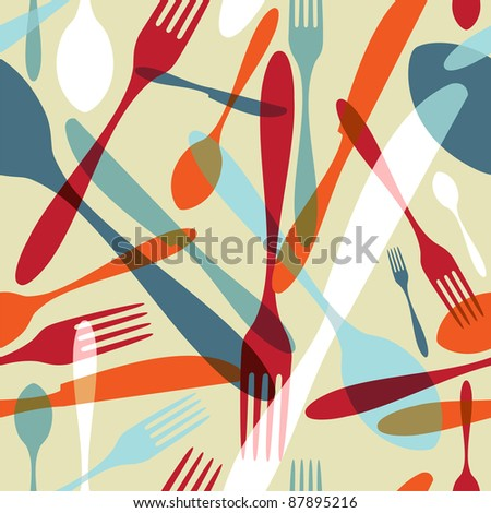 Transparency silverware icons seamless pattern background. Fork, knife and spoon silhouettes on different sizes and colors. - stock vector