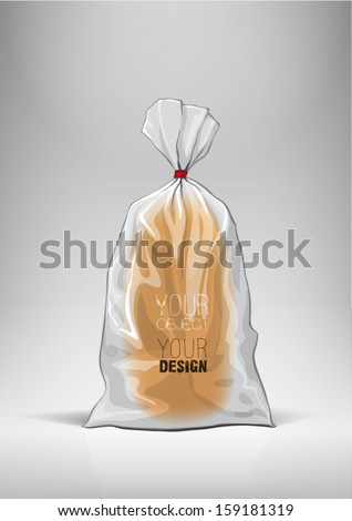 Transparent bag for new design bread package. Sketch style - stock vector