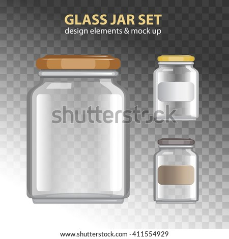 Transparent banks. Glass jars set. Empty containers vector illustration. - stock vector