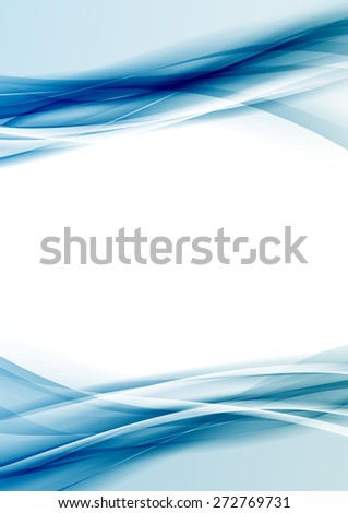 Transparent blue color border folder design template with blank space. Vector illustration - stock vector