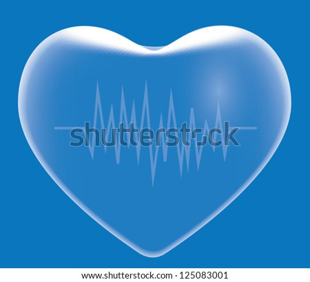 Transparent blue heart and electrocardiogram. - stock vector