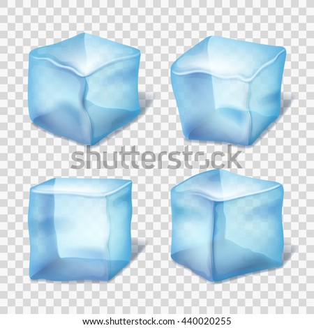 Transparent blue ice cubes on plaid background. - stock vector