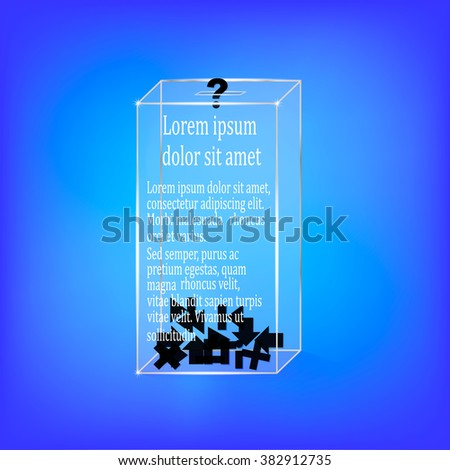 transparent box with icons on blue - stock vector