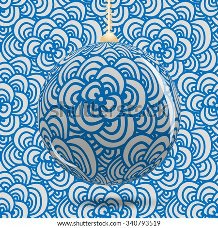 Transparent Christmas ball on background with blue pattern style zenart. Christmas or New Year background. Vector illustration. - stock vector