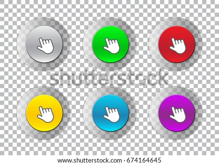 Transparent click here button vector set isolated