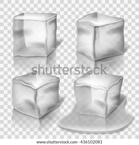 Transparent colorless ice cubes vector set. Block solid cold illustration and cube crystal freeze - stock vector